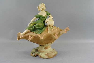 Royal Dux Art Nouveau Centerpiece in Shell Form with Female and Sea Crab #126