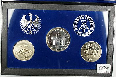 1990 Last East German Three Coin Uncirculated Set in Blue Presentation Box