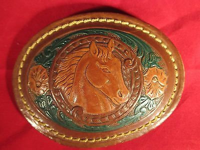 UNIQUE LEATHER ON BRASS MULTI-COLOR HORSE HEAD WESTERN BELT BUCKLE