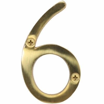 "SOLID POLISHED BRASS NUMBER+SCREWS '6' - (Six) 75mm/3"" Large House Front Door"