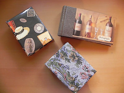 LOT OF 3 PHOTO ALBUMS 4X6 VARIOUS COVERS HOLDS NEARLY 200 PHOTO COMBINED IN EUC