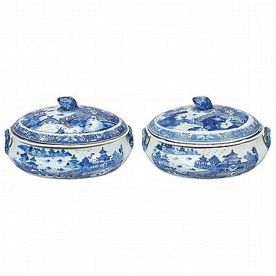 Pair of Chinese Export Blue and White Porcelain Covered Dishes Firs... Lot 186