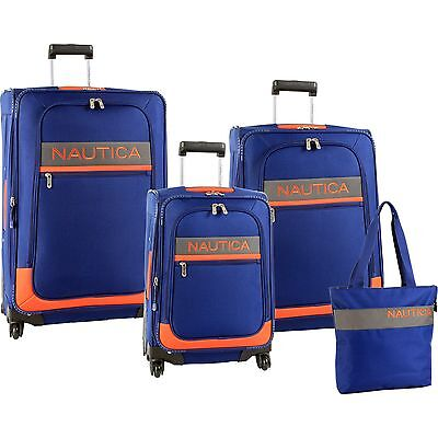NAUTICA RHUMB LINE SPINNER NAVY ORANGE 4 PIECE LUGGAGE SET $1240 VALUE NEW
