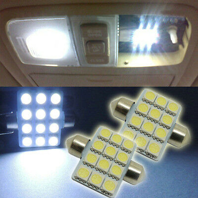 """2X White 12-SMD 1.50"""" 36mm 6411 LED Bulbs For Car Interior Dome Map Lights LC-1"""