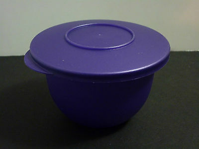 Tupperware Jewel Color Purple Impressions Bowl 2 cups #3621 with lid EUC