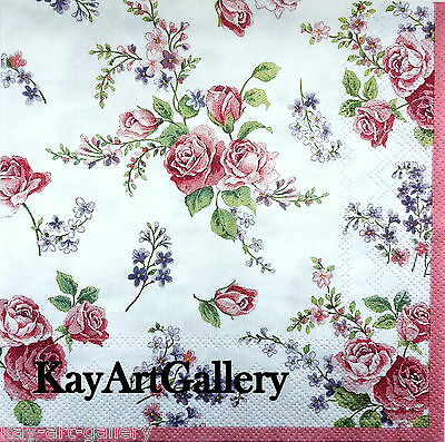 4 x Vintage Single Table Paper Napkins / Craft / Party /for Decoupage / Floral
