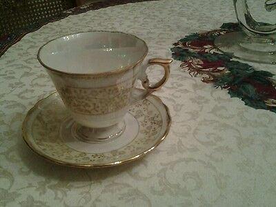 Vintage National  Potteries  Opal and Gold Floral  Cup and Saucer Orig. Label