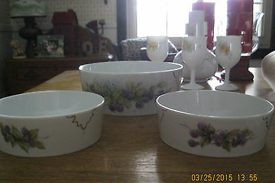 3 Beautiful Hand Painted Porcelain China Grape Designed Bowls signed by Artist