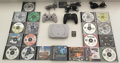20 Games, Sony PlayStation PSone PS1 Gray Slim Console (NTSC - SCPH-101) Lot