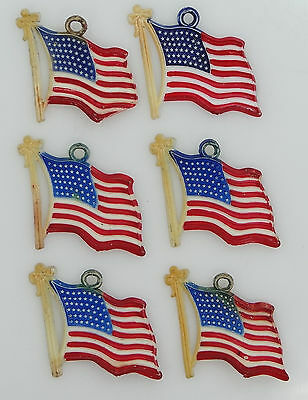 6 WWII Celluloid Red/White/Blue Flag Charms Sweetheart Jewelry NR