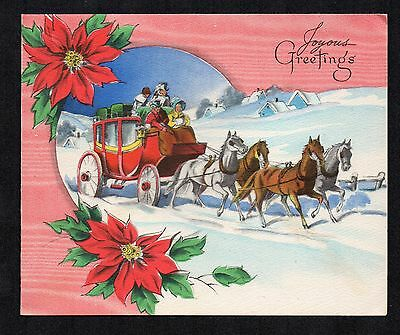 Vintage Christmas Greeting Card Horse & Carriage, Poinsettia Border, 1940's