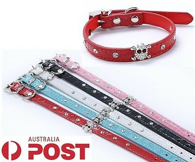 New Dog Studded Leather Collar Pet Cat Puppy Crystal Rhinestone Skull Bling Size