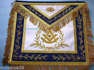 Past Master Apron Blue Velvet Borders Golden Bullion  Embroidery White Satin