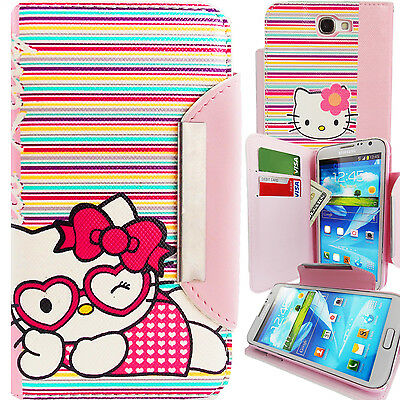 Pink Hello Kitty PU Leather Stripes Wallet Case for Samsung Galaxy Note 2 Cover