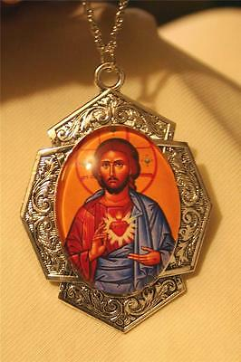 Gorgeous Art Deco-Inspired Orthodox Sacred Heart of Jesus Porcelain Necklace