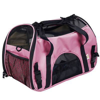 Pink Pet Carrier OxFord Soft Sided Cat/Dog Travel Tote Shoulder Bag Small