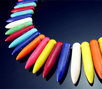 Free TOP 50PCS Turquoise Mixed color Needle shape Spacer Pendant findings 25mm