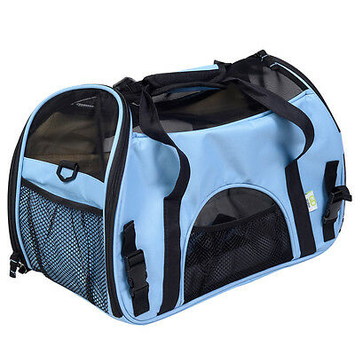 Blue Pet Carrier OxFord Soft Sided Cat/Dog Travel Tote Shoulder Bag Small