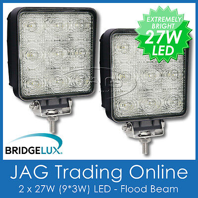 2 x 27W LED 12V~24V SQUARE FLOOD/WORK LAMPS-BOAT/4X4/TRUCK/RV/DECK/DRIVING LIGHT