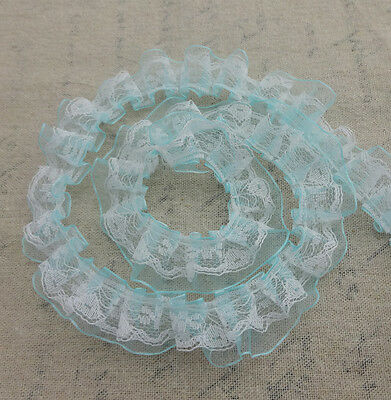 Wholesale 5 Yards 2-layer Light Blue Organza White Lace Pleated Trim   LL13