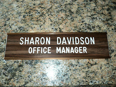 """Custom engraved 2"""" x 8"""" walnut/white sign with gold wall holder - 2 lines"""