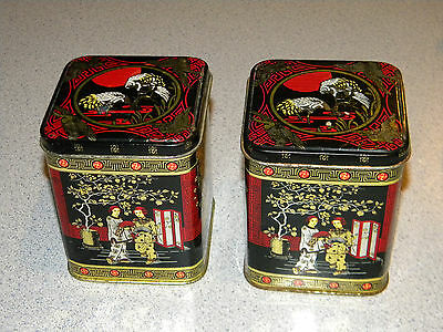2 Vintage Asian Oriental square cookie Tins Made England Containers Canisters