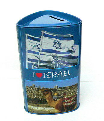 I Love Israel Saving Box Coin Tzedakah Charity, Flag Jerusalem Galilee Holy Land