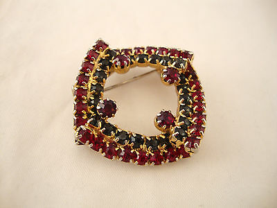 Siam Red & Charcoal Gray Rhinestone Brooch Pin Square Swirl Wave Wreath Vintage