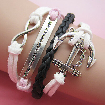 NEW Jewelry fashion Leather Cute Infinity/anchor Charm Bracelet Silver SL25