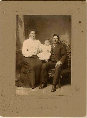 Old  Antique Vintage CDV Photograph Mom and Dad With Baby