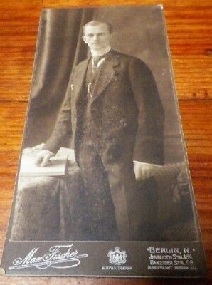 Old Antique Vintage CDV Photograph Man in Suit Berlin Germany