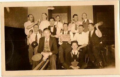 Vintage Antique Photograph Group of Men With Bowling Balls and Pins