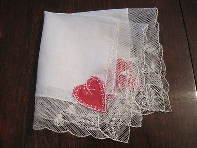Darling  Antique Embroidered RED VALENTINES Needlace  HANDKERCHIEF
