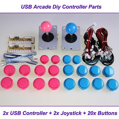 Arcade DIY Parts 2x USB Encoder To PC + 2x Joystick + 20x Buttons For MAME JAMMA