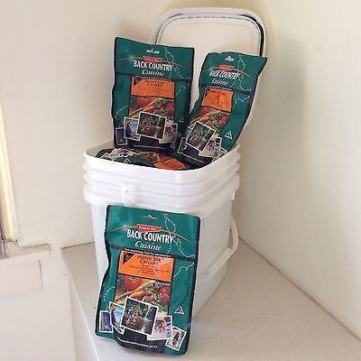 BACK COUNTRY CUISINE Freeze Dried Food 50 x DOUBLES Your Choice in 5 FREE Tubs