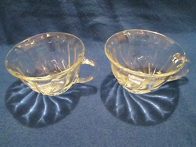 2 Vintage Anchor Hocking Cups Mugs Clear Glass Swirl Style Coffee Punch Tea