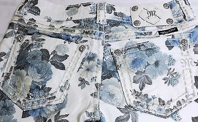 MISS ME ANKLE SKINNY STRETCH JEANS RHINESTONES BLUE PEONY FLORAL SIZE 25/ 30