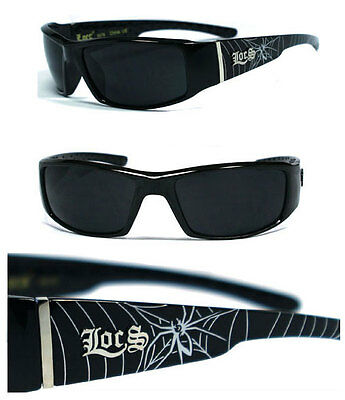 Locs Mens Gangster Sports Sunglasses Free Pouch - Shiny Black Spider LC57