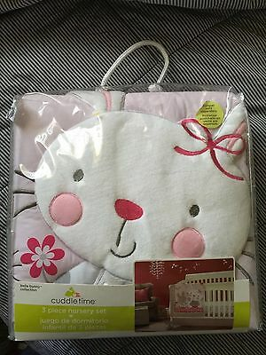 CuddleTime Three Piece Pink Girl Nursery Crib Set Bella Bunny Collection New