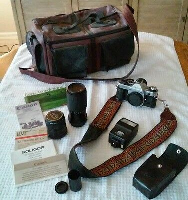 Canon AE-1 Camera with two lenses Starblitz auto zoom 75 mm - 200 mm, Hoya 55 mm