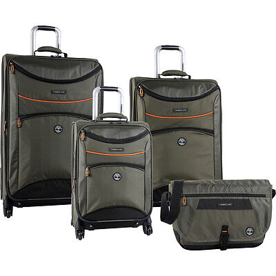 TIMBERLAND ROUTE 4 OLIVE 4 PIECE SPINNER LUGGAGE SET $1360 VALUE NEW