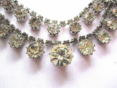 Vintage Art Deco Beautiful Faceted Clear Crystal Double Strand Necklace