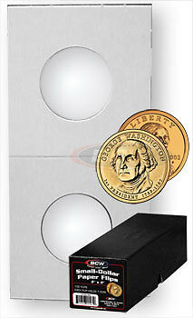 500 BCW Coin Holder Paper Flips Small Dollar Boxed 2x2 Window 26.5mm