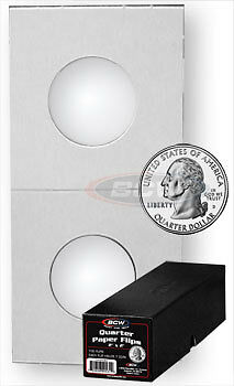 500 BCW Crystal Clear Coin Holders Paper Flips Quarter Boxed 2x2 - 24.3mm
