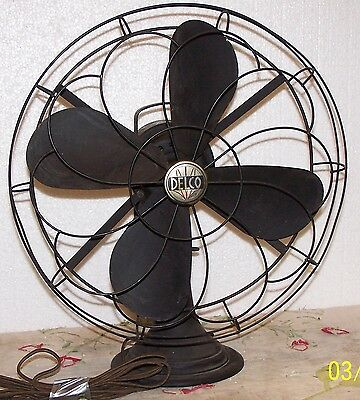 ANTIQUE ELECTRIC DELCO 16 INCH FAN FOR REPAIR OR PARTS