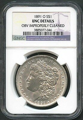 1891-O Morgan Silver Dollar NGC UNC Details Obverse Improperly Cleaned