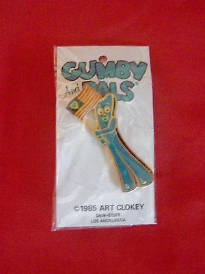 """Vintage Gumby with Flag 1 3/4 inch Enamel Pin 1985 """"Gumby & Pals"""" New Old Stock"""