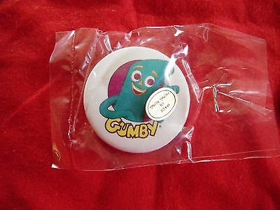 """RARE Gumby 1 1/2 inch Button Pin 1986 """"Gumby & Pals"""" New Old Stock"""