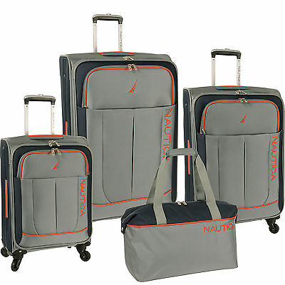 NAUTICA FAIRWIND GREY / INK / POPPY 4 PIECE SPINNER LUGGAGE SET $1100 VALUE