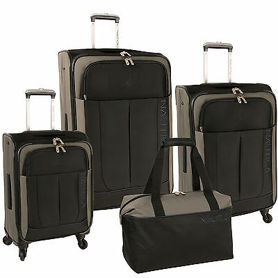 NAUTICA FAIRWIND BLACK GREY NAVY 4 PIECE SPINNER LUGGAGE SET $1100 VALUE